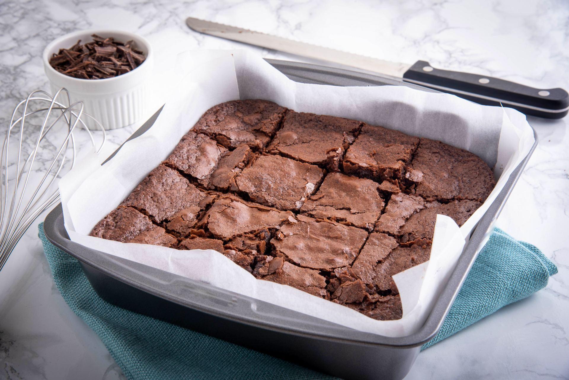 Tray of chocolate brownies