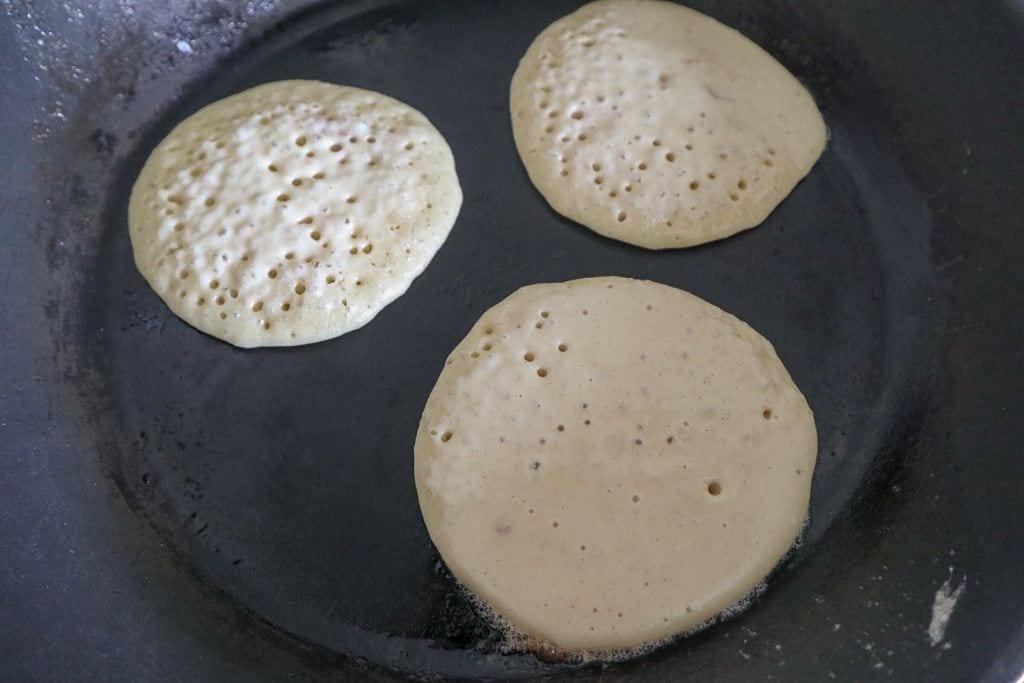 American pancakes in a pan