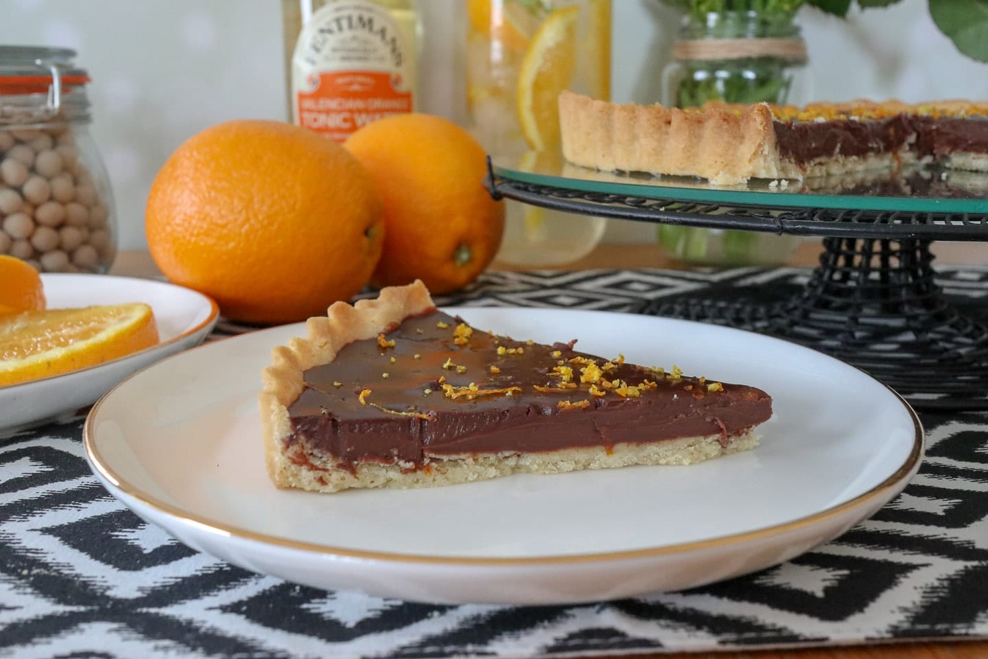 Gin and Valencian Orange Tonic Chocolate Tart