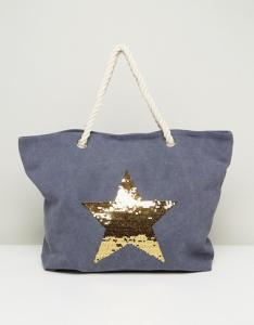 Blue Beach Bag with Gold Star